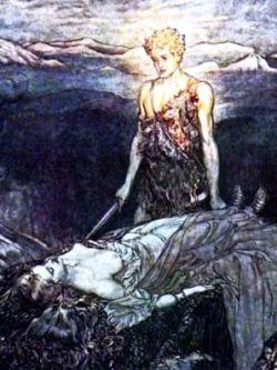 Hagen kills Kriemhilda's young son Ortlieb