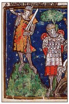 Рыцарь Роланд, трубящий в рог. Средневековая миниатюра