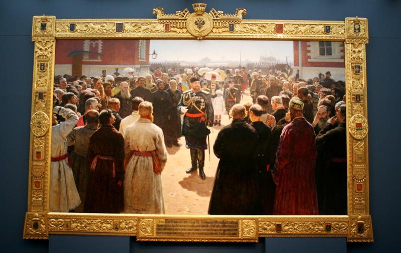 Илья Репин «Прием волостных старшин императором Александром III во дворе Петровского дворца в Москве» 1886