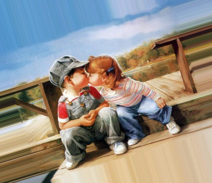 Дети целуются открытки