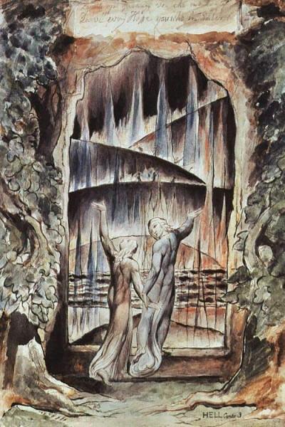 Данте и Вергилий перед вратами ада. Уильям Блейк