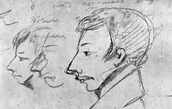 Портрет Вильгельма Кюхельбекера, обнаруженный в рукописях Пушкина