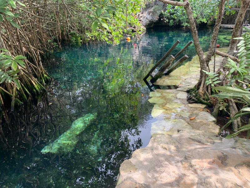 Часто сеноты соединяются с морем, вода в них гораздо холоднее, поэтому зимой мексиканцы не купаются, потому как холодно!