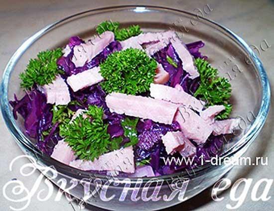 Какой салат можно приготовить из фиолетовой капусты