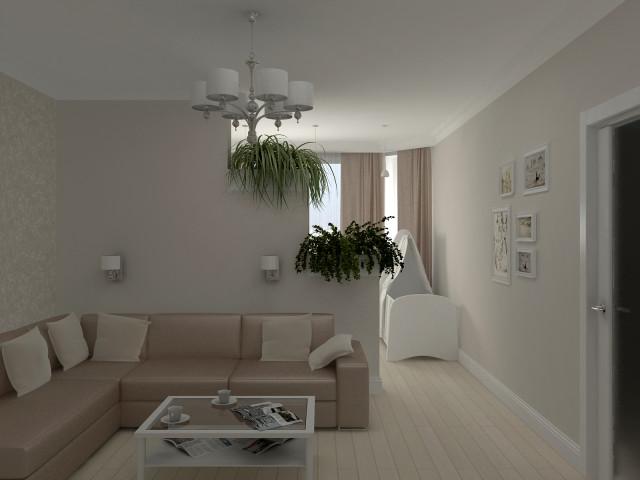 Дизайн комнаты разделенной на две