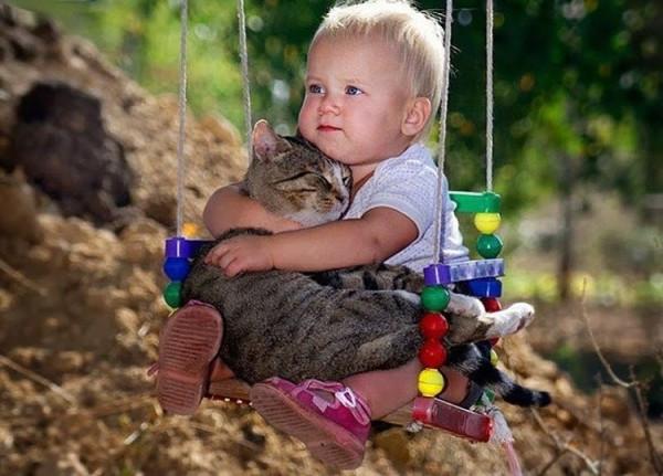 Кот и ребенок на качелях.jpg
