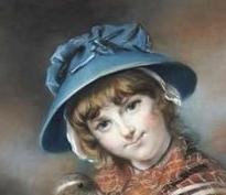 1787 market girl holding a mallard by john russell detail