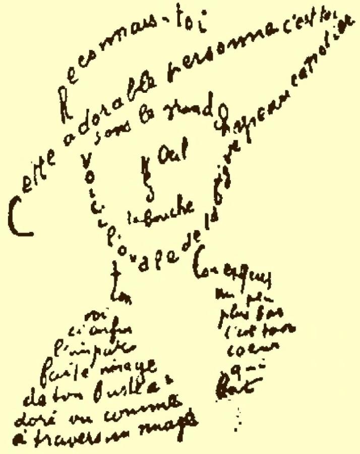 Calligramme van Guillaume Apollinaire