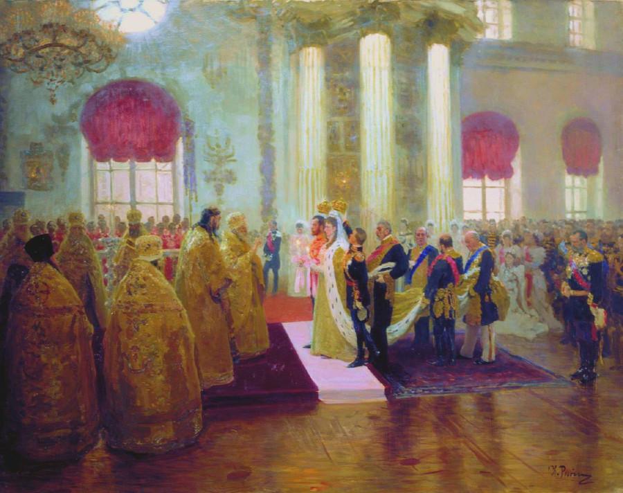 ilya-repin-wedding-of-tsar-st-nikolai-aleksandrovich-and-tsaritsa-st-aleksandra-fyodrovna-1894