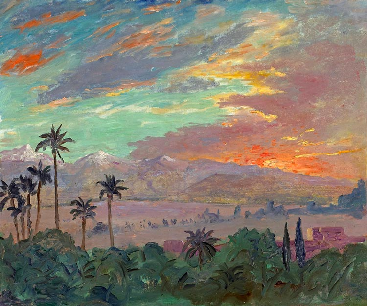 Churchill_Sunset_over_Atlas_Mountains,_Marrakech_1935