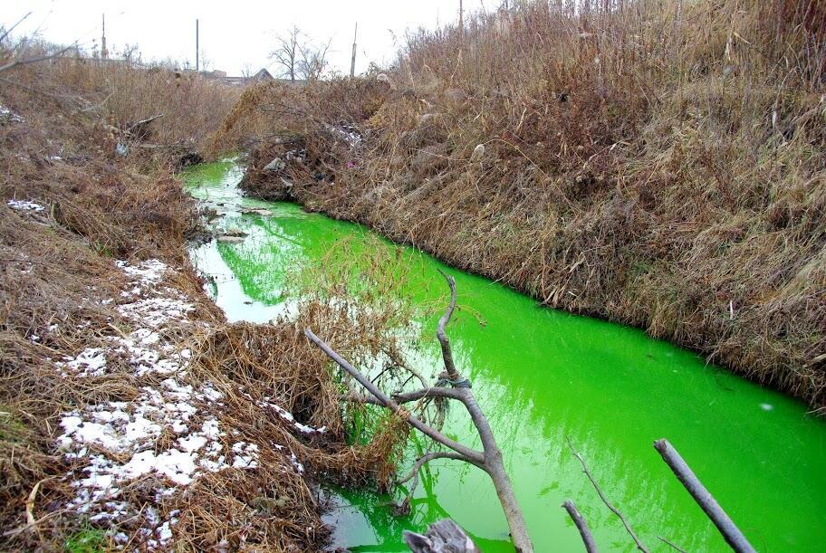 Ядовитый цвет реки в Приморье