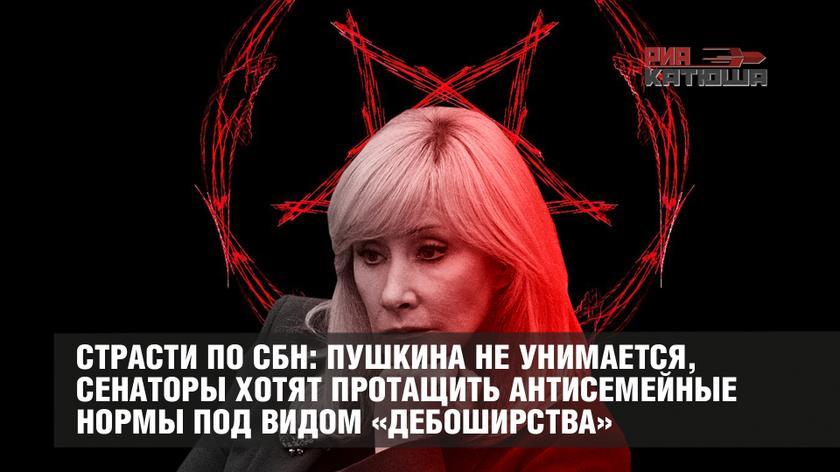 20200221-Страсти по СБН- Пушкина не унимается, сенаторы хотят протащить антисемейные нормы под видом «дебоширства»-pic1