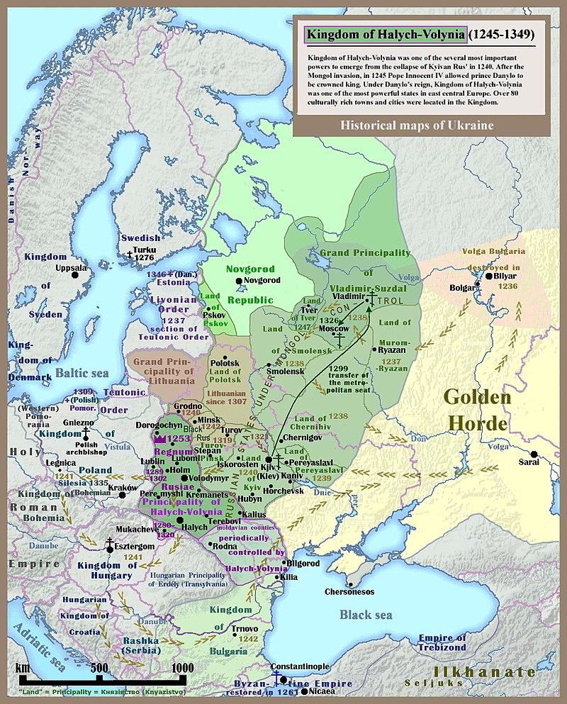 Галицко-Волынское княжество на карте Восточной Европы - 800px-Kingdom_of_Galicia_Volhynia_Rus'_Ukraine_1245_1349