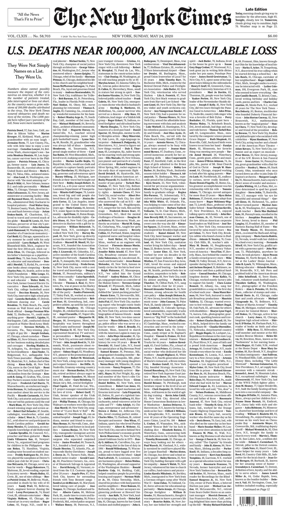 The front page of The New York Times for May 24, 2020