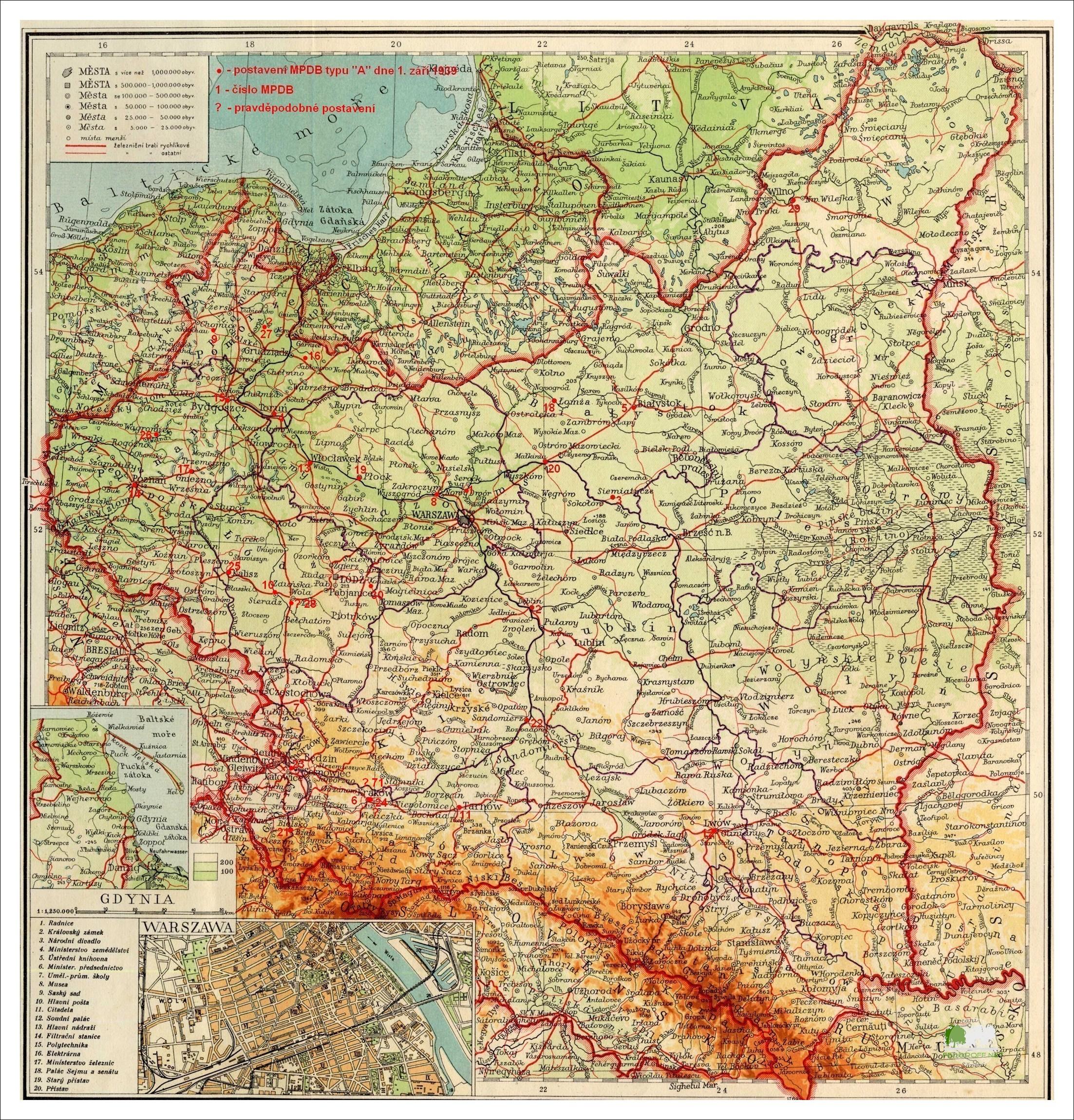Карта Польши до 1939 года