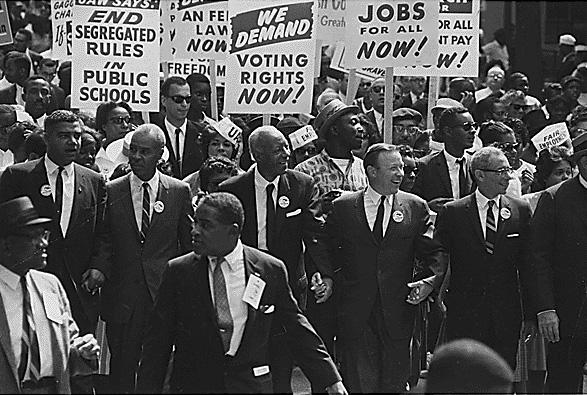 Manifestation de rue aux États-Unis en faveur de l'égalité des droits, 1963