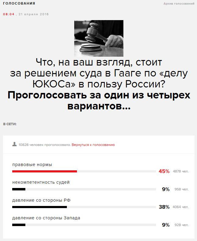 Что, на ваш взгляд, стоит за решением суда в Гааге по «делу ЮКОСа» в пользу России