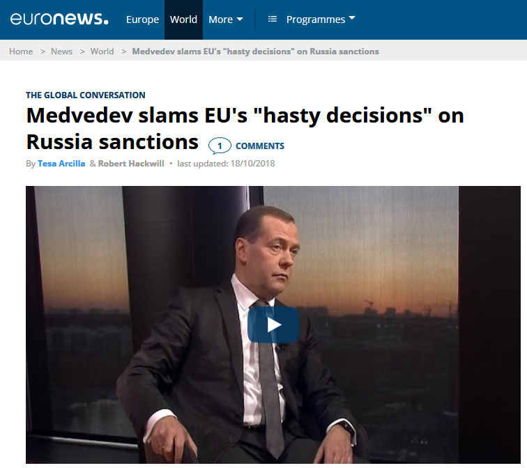 2018-10-18. Medvedev slams EU's «hasty decisions» on Russia sanctions