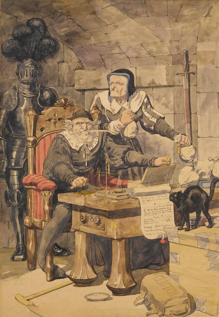 Ричард Дадд. Эскиз к иллюстрации одной из греховных страстей — алчности. 1854