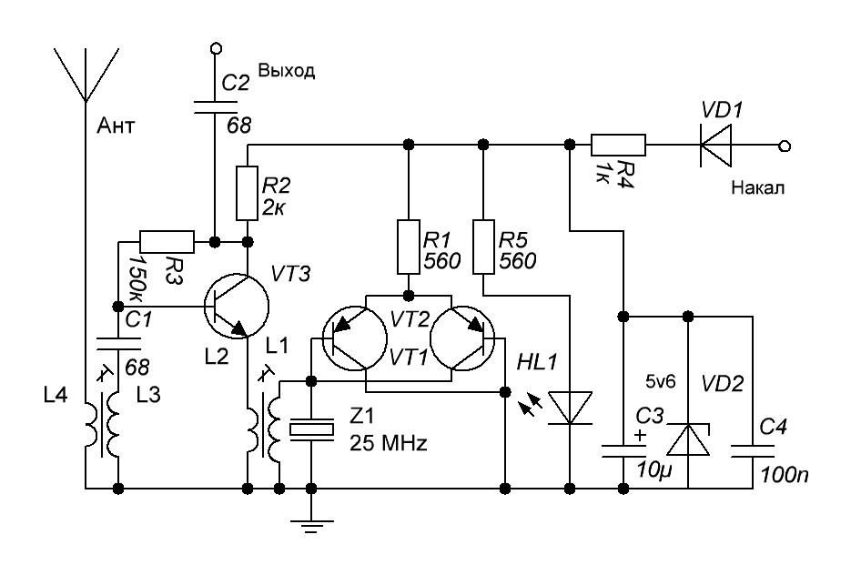 На транзисторе VT3 собран УВЧ