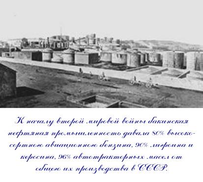 К началу второй мировой войны бакинская нефтяная промышленность давала 80% высокосортного авиационного бензина, 90% лигроина и керосина, 96% автотракторных масел от общего их производства в СССР.