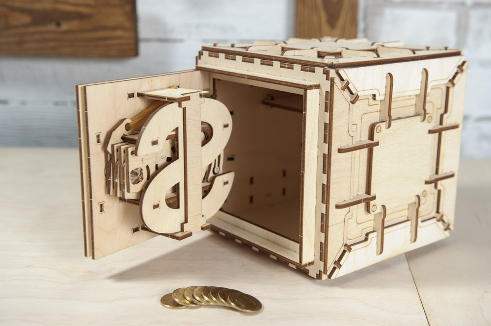 Механический конструктор деревянный сейф UGEARS