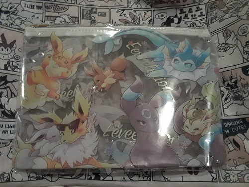 This is a clear pouch featuring Eevee and its Eeveelutions. There is a shiny Eevee and Umbreon. There is also a gray and yellow Sylveon. It's $7.50 in the shop.