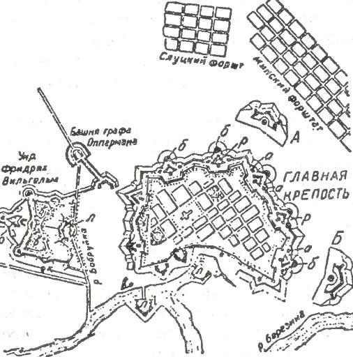 Схема крепости Бобруйск