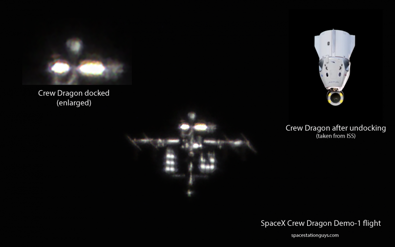 Enlarged comparison photo of ISS with docked SpaceX Crew Dragon Demo-1 (left) and the spacecraft after undocking – screenshot from the live feed (right) – Szabolcs Nagy