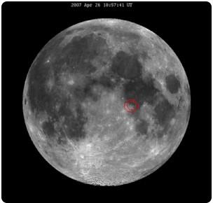 Красным помечено место прилунения Аполлона-11 (NASA)