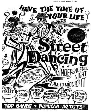 Август 1962. Афиша: Танцы в честь дня независимости.
