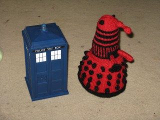 Exterminknit dalek with tardis moneybox for scale