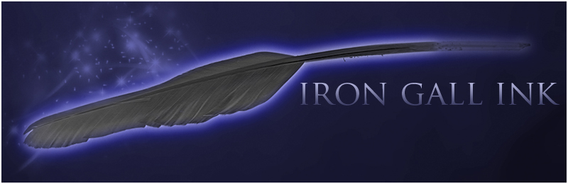 Sparkly quill with text Iron Gall Ink