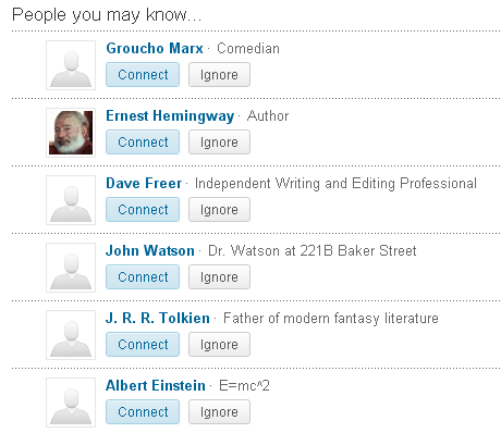 LinkedIn April Fools' Day page preview: People You May Know including J. R. R. Tolkien, Albert Einstein, Groucho Marx