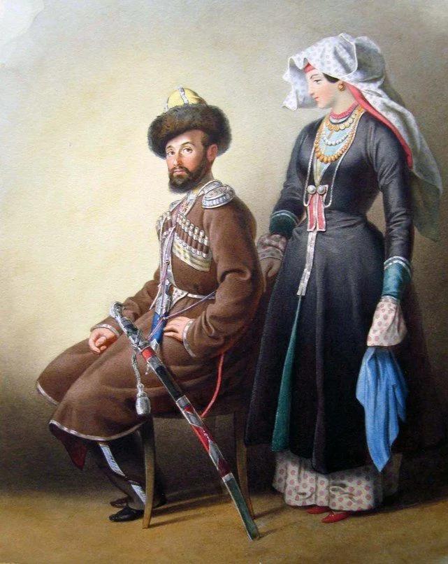 Терский казак со своей женой. 1840-е годы.
