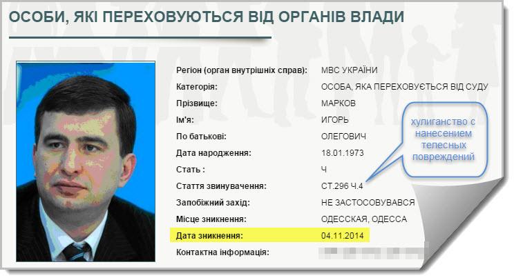 И.Марков в розыске