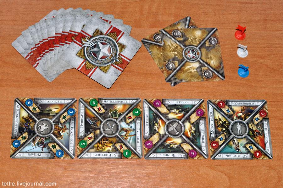 Карточки отрядов и боевых бонусов, фишки армий