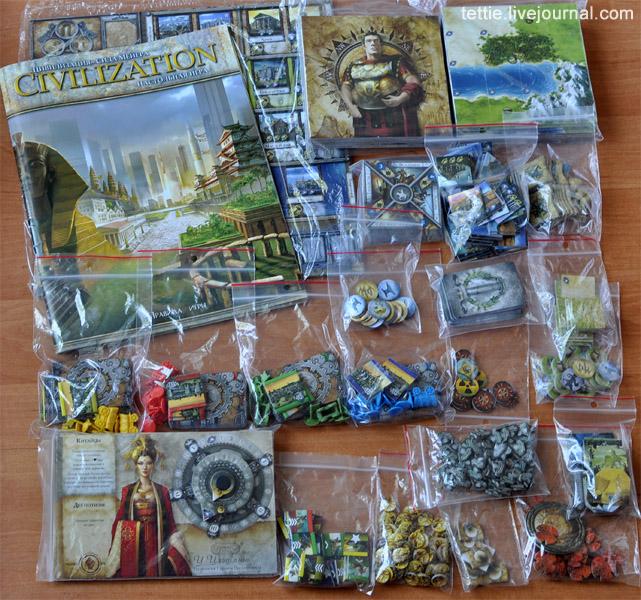 Полный комплект всех карточек, маркеров и фишек (пакетики к ним приобретались отдельно)