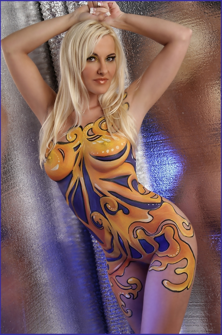 Nude male body painting