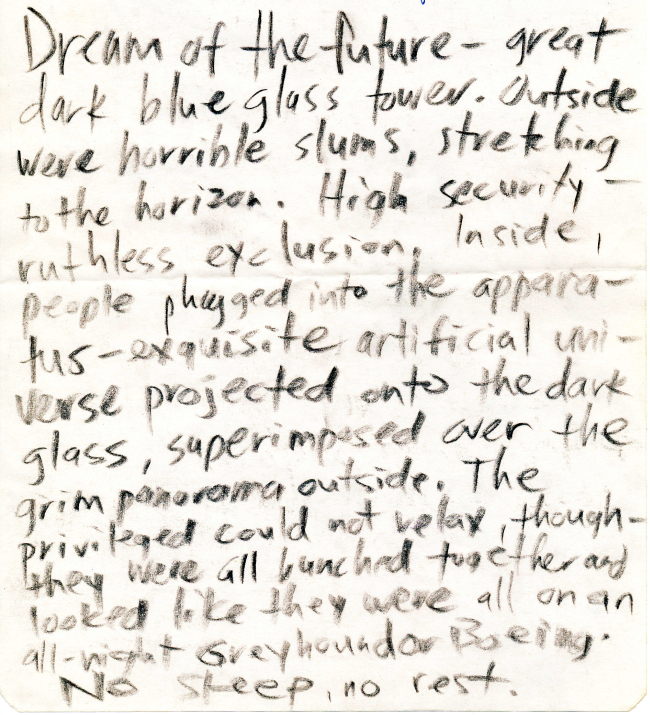 A dream journal from the late 80s or 90s.