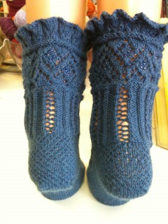 Fagoting Rib Socks, Finished, Back