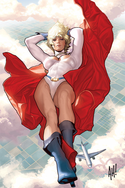 Power Girl, Power Girl, Power Girl, G-cup Boobs, Buxom Flying Lass, Woman of Tomorrow, Superman's Cousin, Largest Breasted Female Hero in the DC Universe, Power Girl Cover by Adam Hughes
