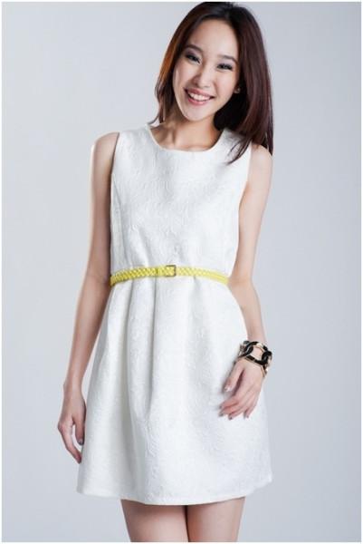 Embossed Glamor Dress in White - $31