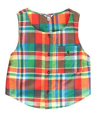 h81 rainbow plaid vest