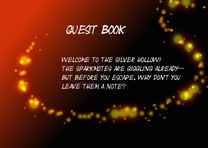 a red glittering panel reads guestbook