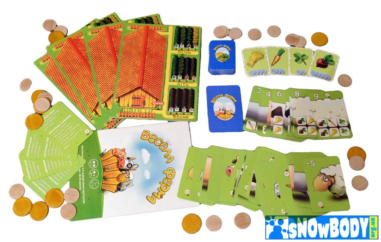 Настольная игра Веселя ферма (Boardgame Happe Farm, настільна гра весела ферма). Компоненты