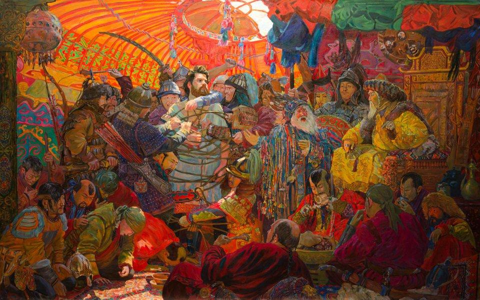 Картина Ильи Лысенкова Евпатий Коловрат в ставке Батыя ( 2016 г.)