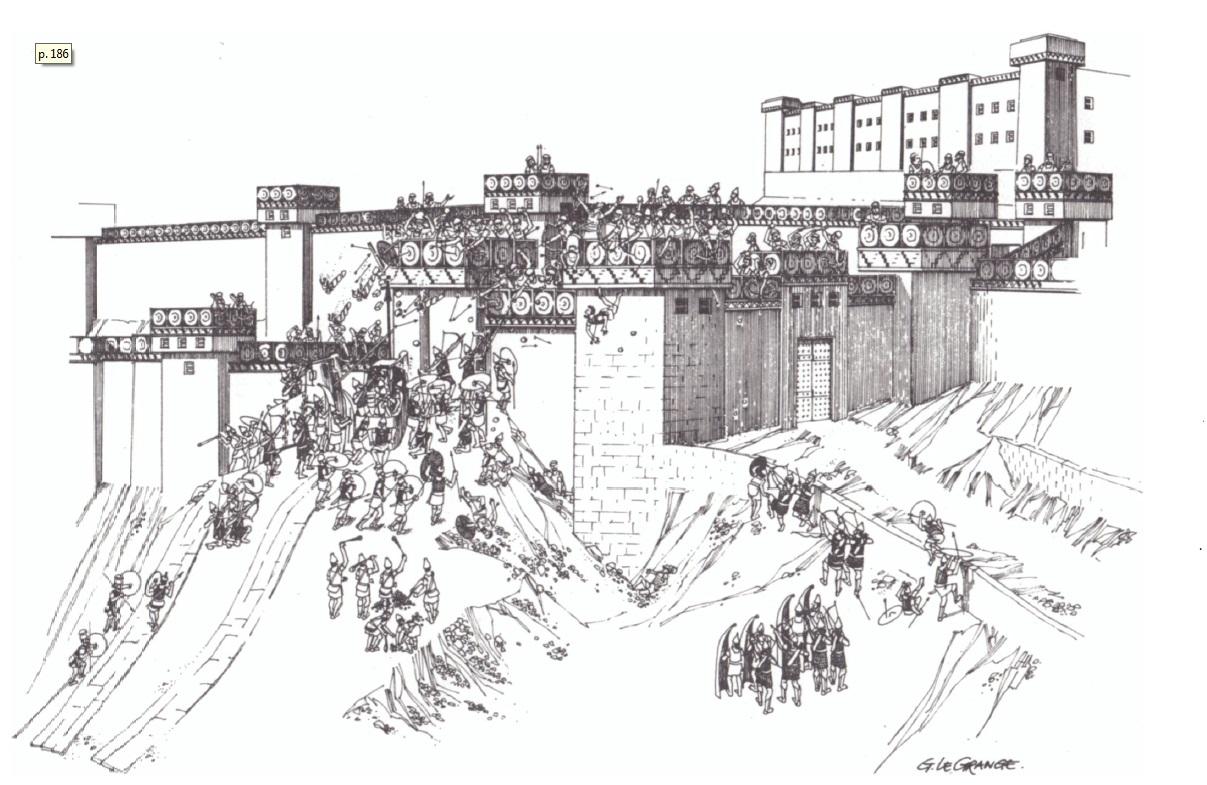 Рис. 6. Атака привратных укреплений Лахиша. Реконструкция Герта ле Гранжа.