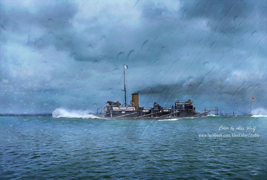 Destroyer-Torpedo ram HMS Polyphemus goes on the attack