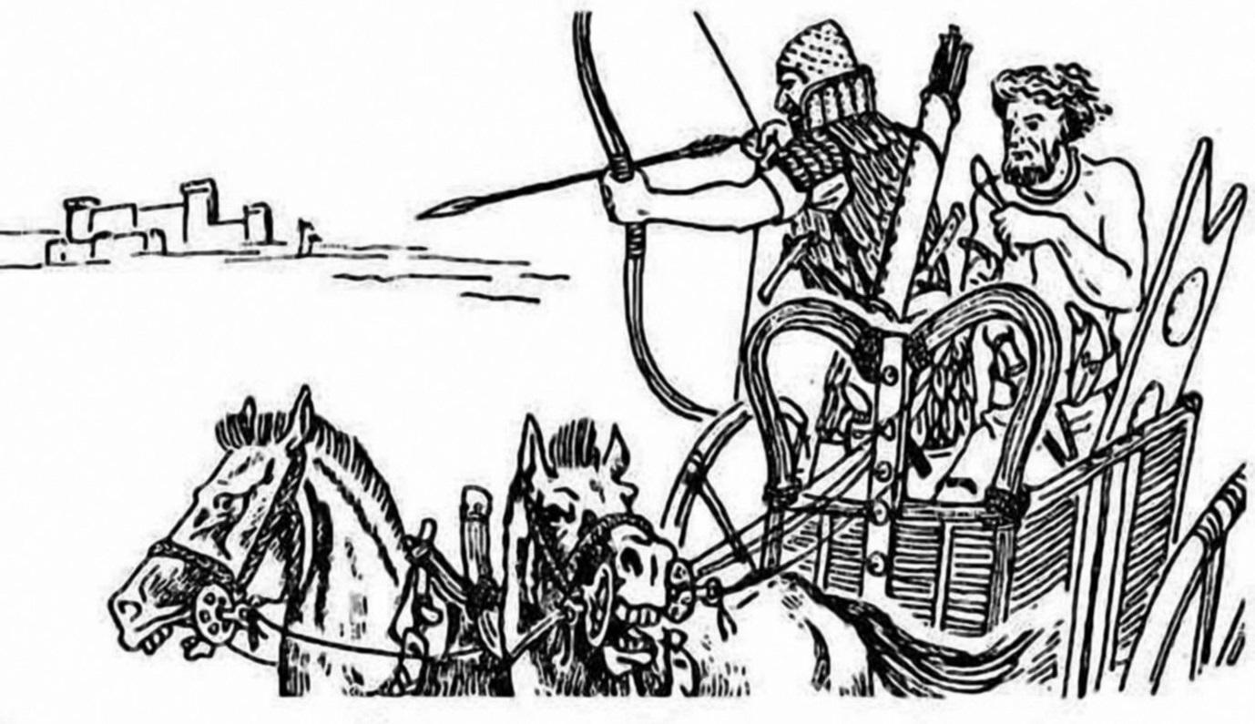 Рис. 11. Гиксосские колесничные воины. Реконструкция М.В. Горелика.
